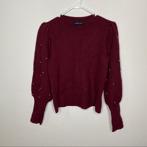 Mustard Seed burgundy long sleeve pearl sweater